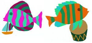 Add, subtract fish with boat and fish with drum