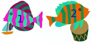 Add, subtract fish with boat and fish with drum, numbered