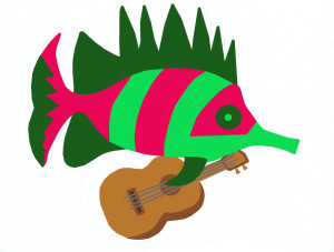 Fish with guitar