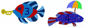 Add, subtract fish with horn, fish with umbrella numbered 3 4