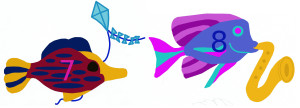 Add, subtract fish with kite, fish with horn, numbered