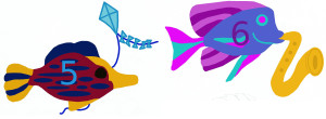 Add, subtract fish with kite, horn 2, numbered 5 6