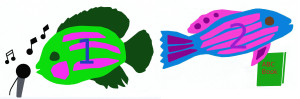 Add, subtract fish with mic and fish with book numbered 1 2