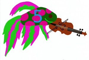 Add, subtract fish with violin, numbered 5