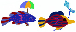 Add, subtract fishes with umbrella, kite numbered 1 2