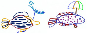Outline of Add, subtract fishes with kite, umbrella