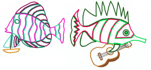 Outline of add, subtract fishes with boat, guitar