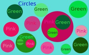 Circles, green and pink
