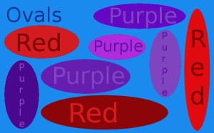 Ovals, red and purple