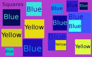 Squares, blue and yellow