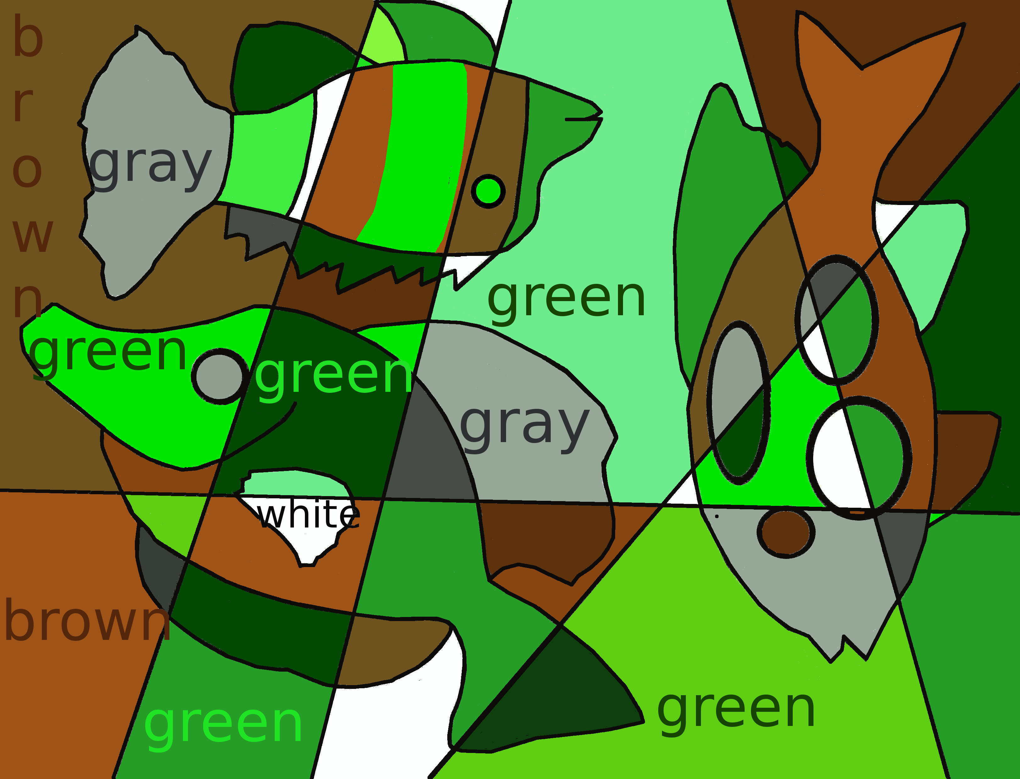 Green, gray, brown, and white