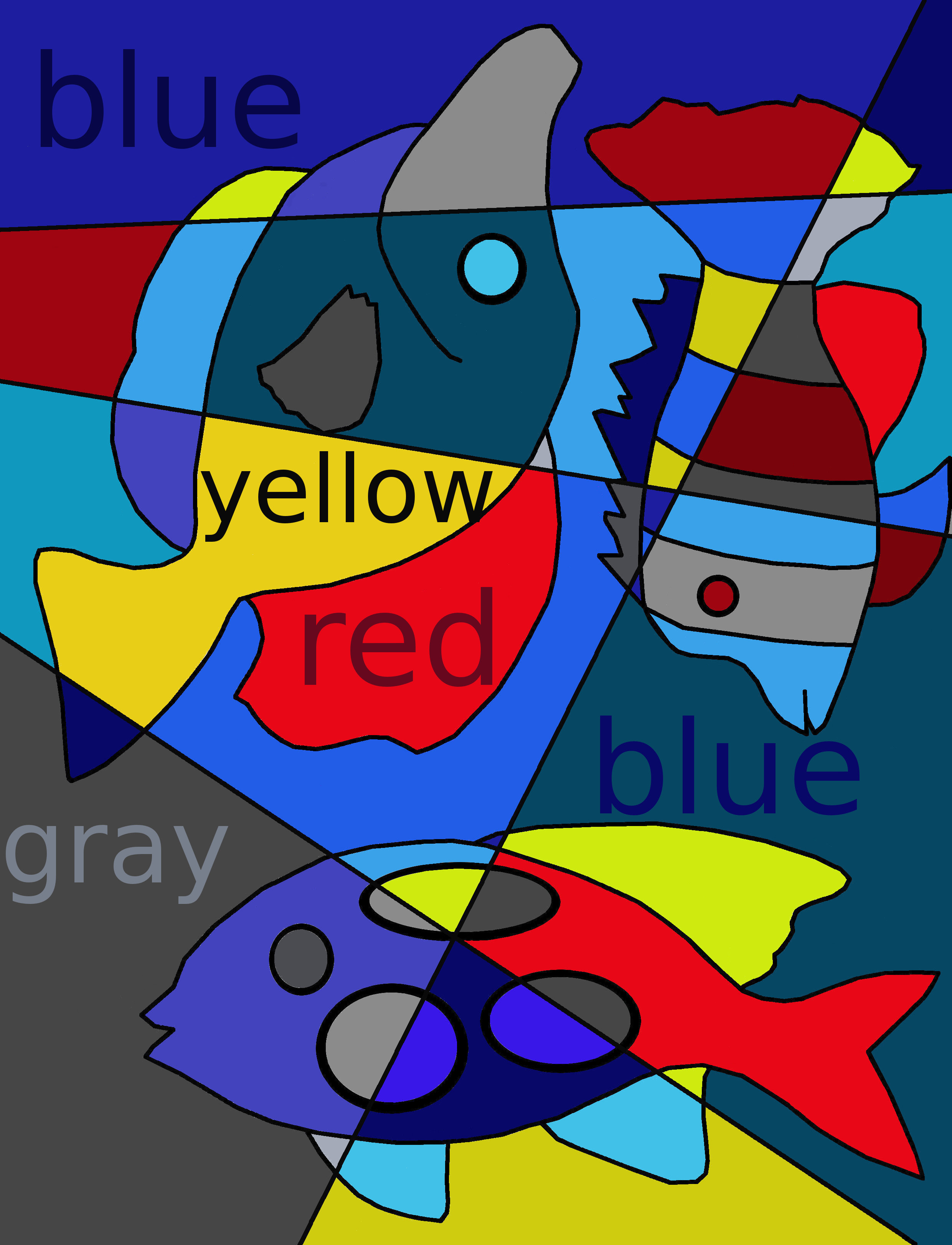 Blue, yellow, red, gray