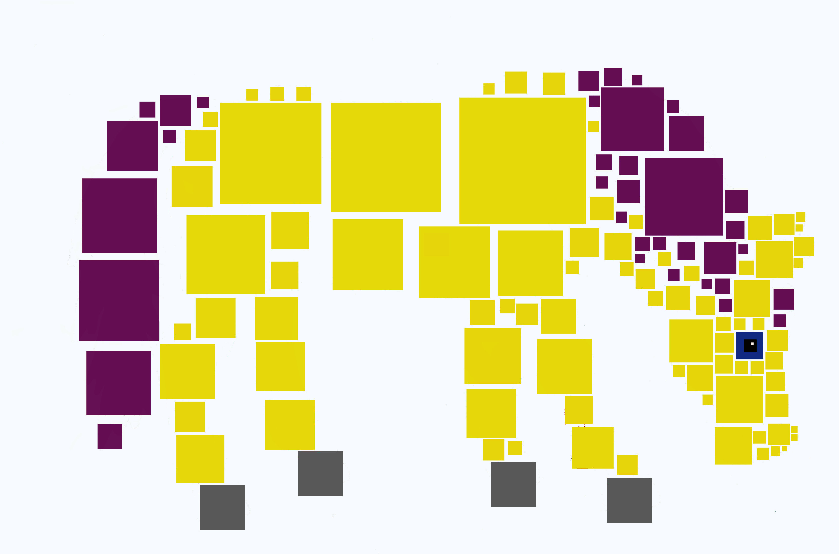 Yellow and purple horse made of squares