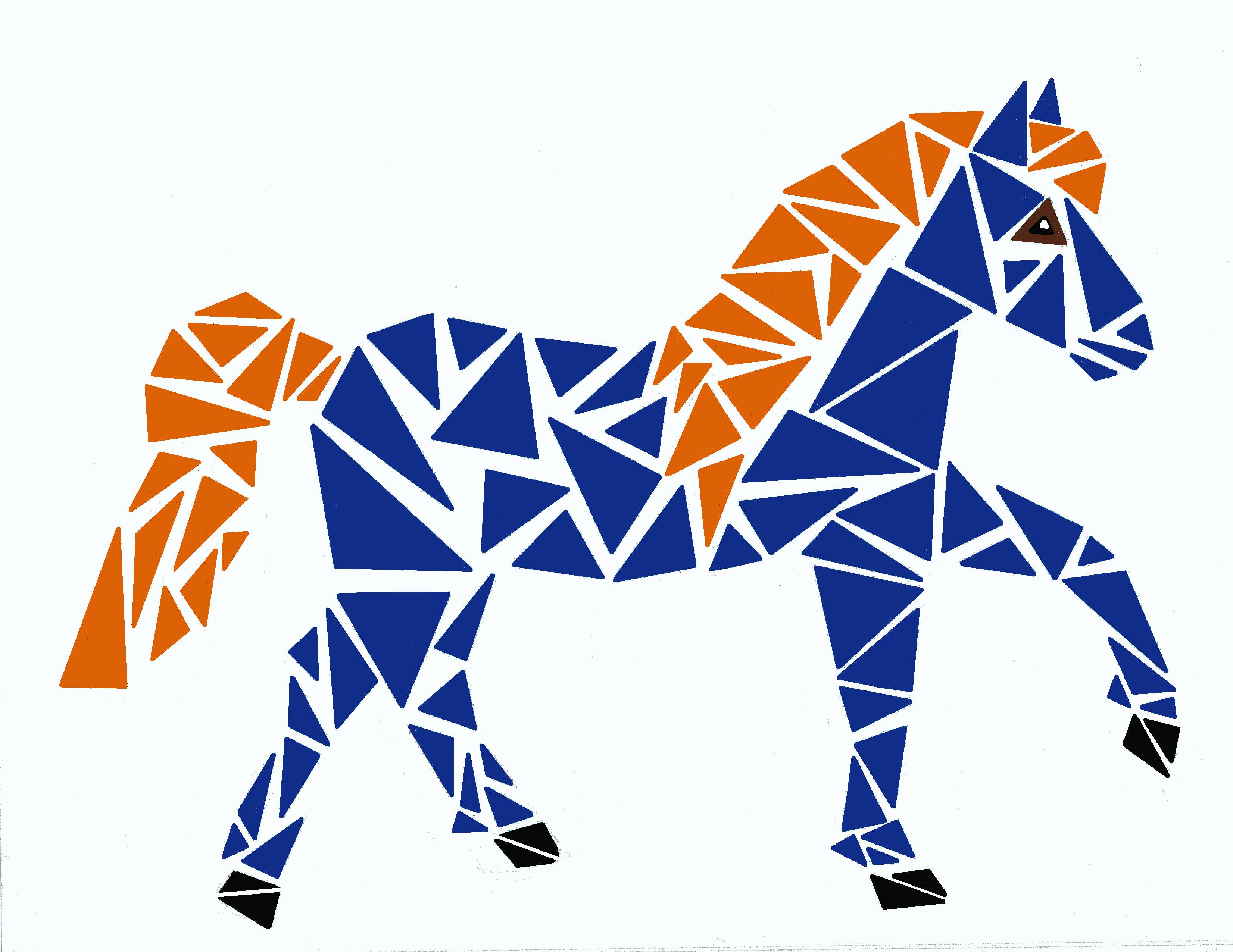 Orange and blue horse made of triangles