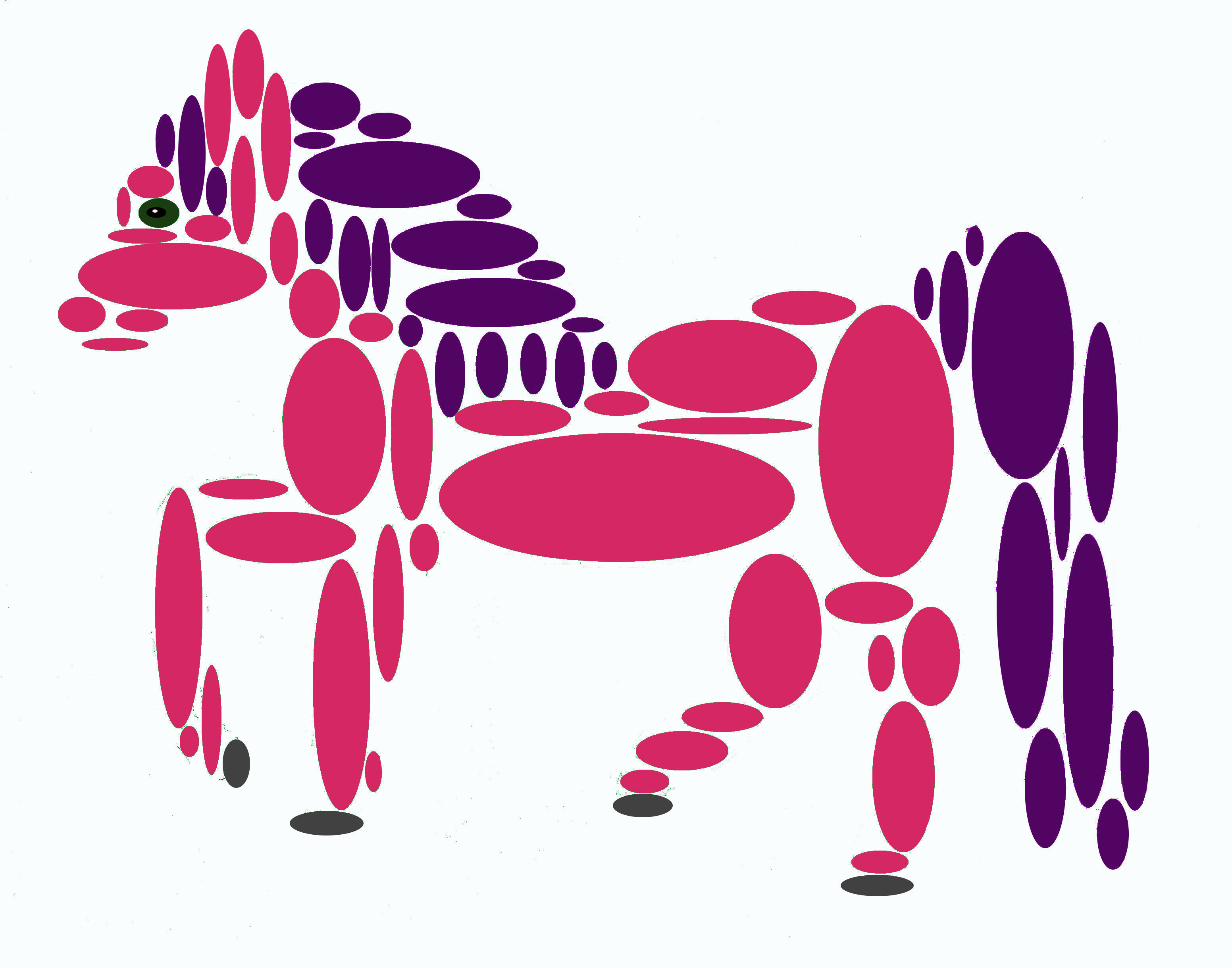 Purple and pink horse made of ovals