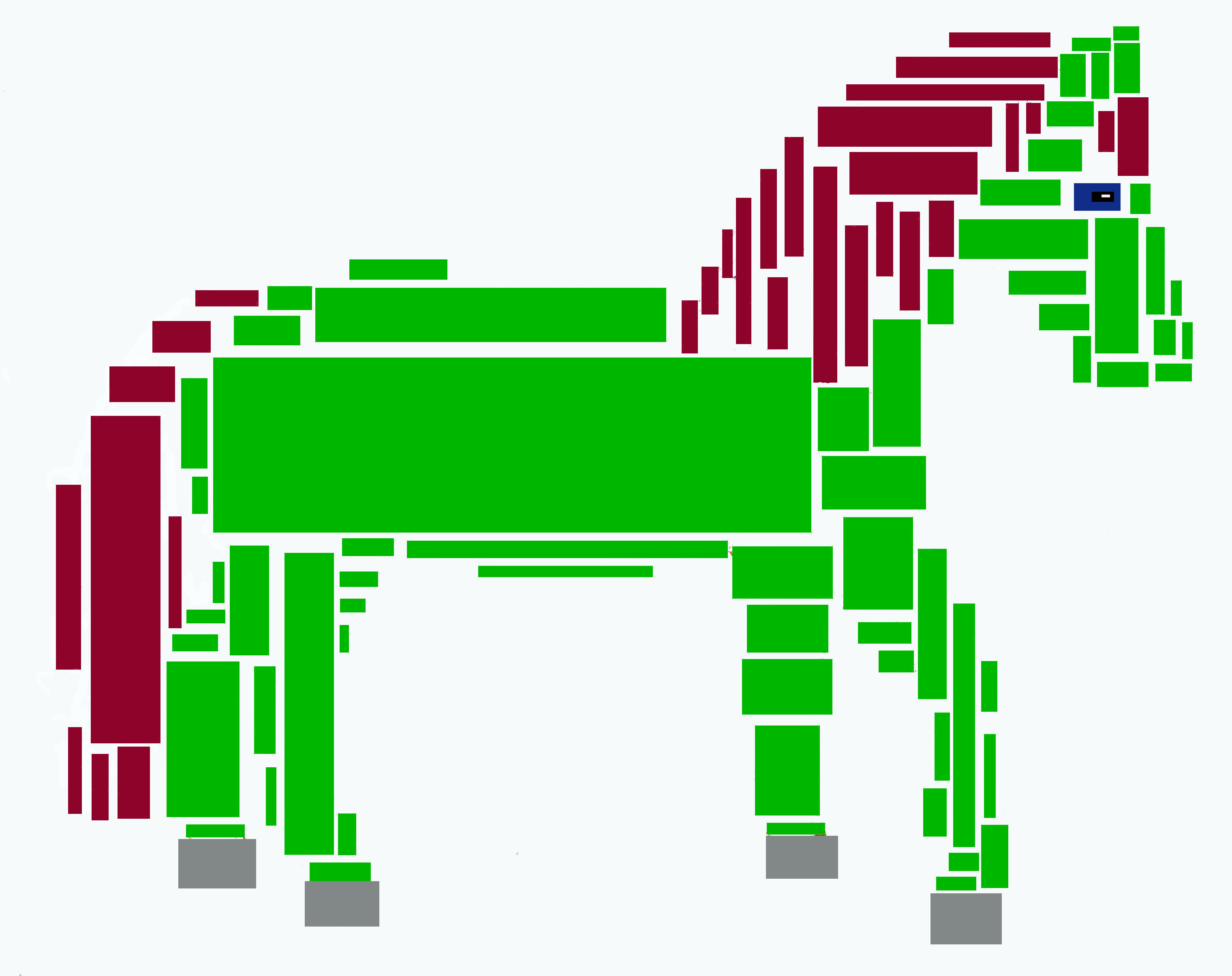 Red and green horse made of rectangles