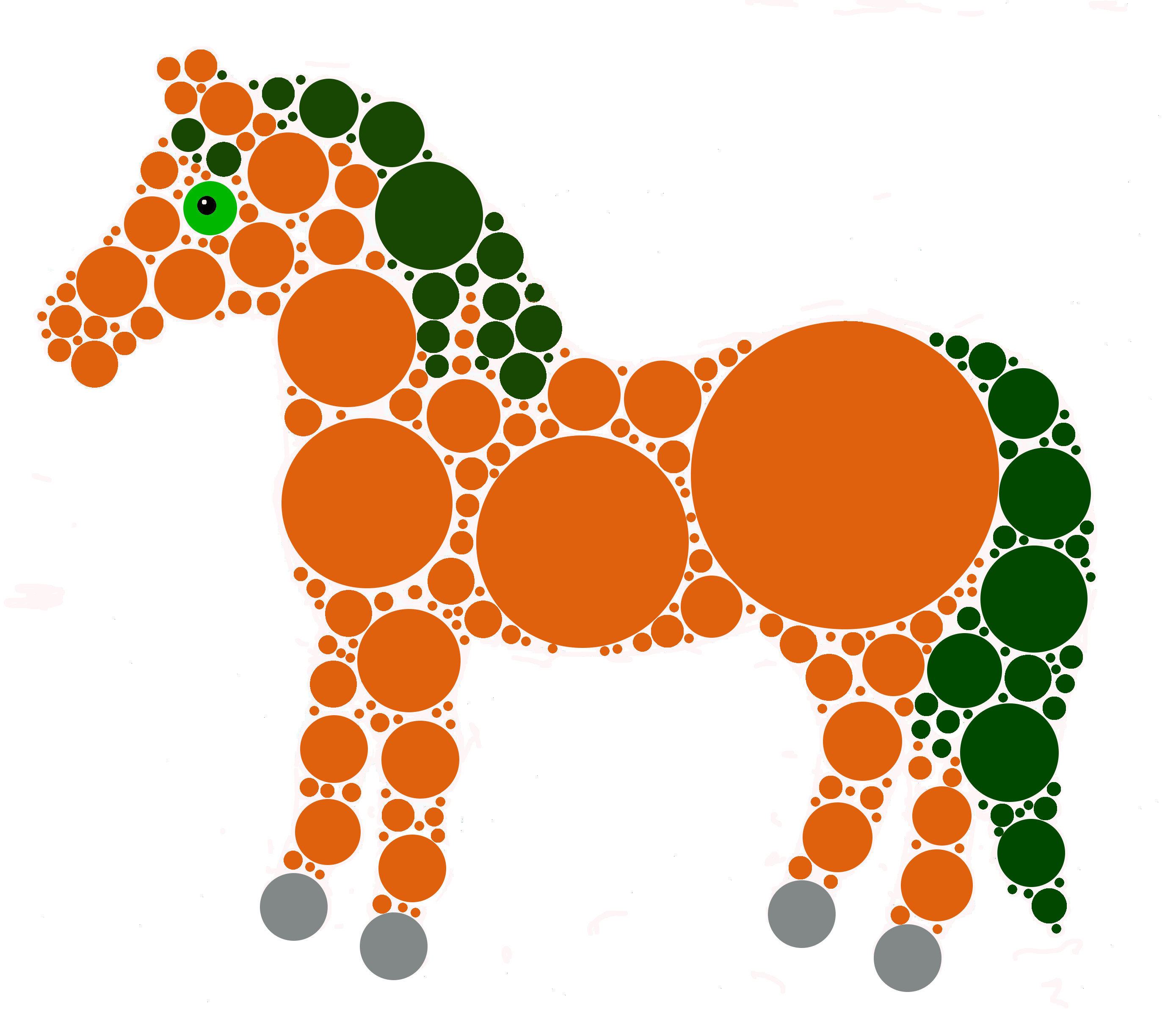 Green and orange horse made of circles